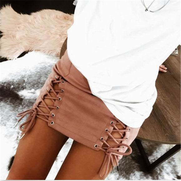 2017 Summer Fashion Sexy Women Skirt High Waist Hollow Bandage Lace Up Faux Suede Party Short Mini Skirts For Women
