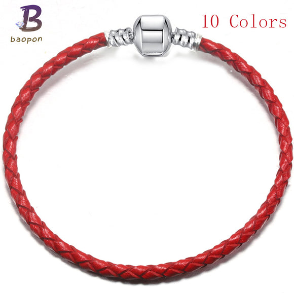 Authentic 10 Colors Leather Chain Fine Bracelets Fit DIY European Fashion Charm Bracelet For Women Jewelry DIY Gifts BAC015