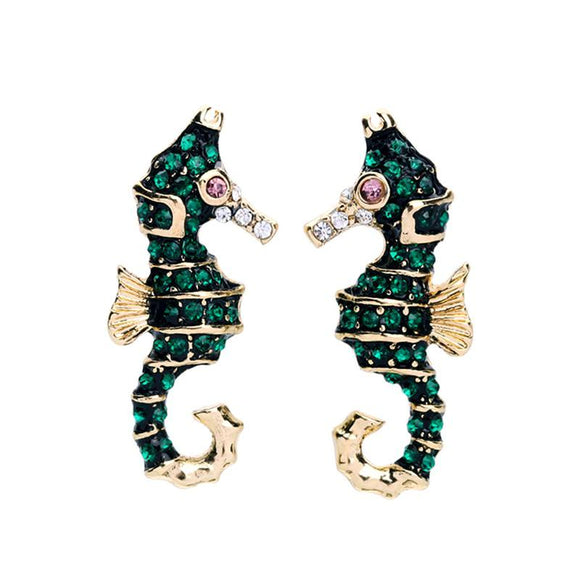 ATHENA 2018 Seahorse Alloy Green Crystal Statement Stud Earrings