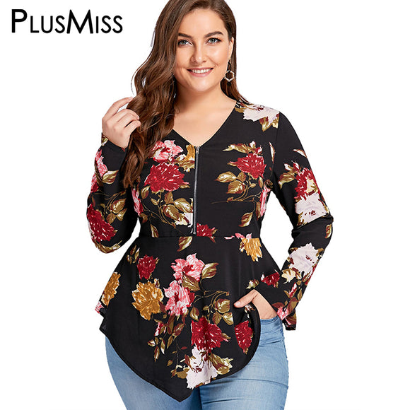 Plus Size 5XL Zipper Floral Print Asymmetrical Blouse Shirt Women Long Sleeve Tunic Peplum Chiffon Tops Autumn 2017 Blusas