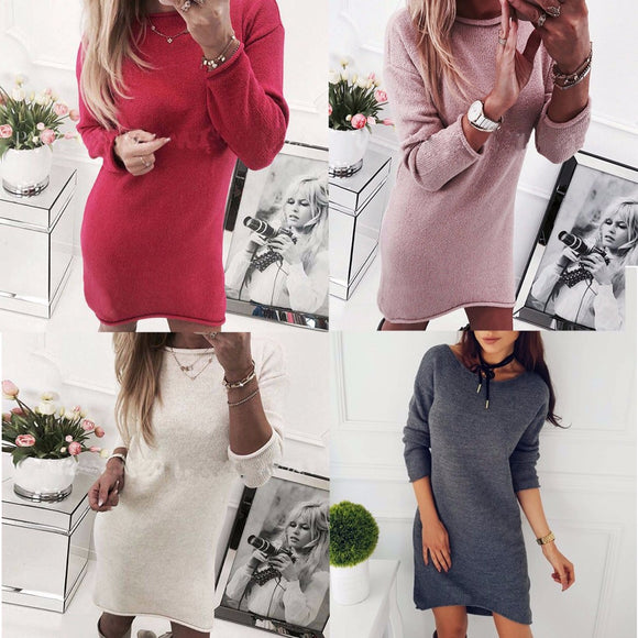 2017 New arrivals casual autumn winter casual gray red pink white long sleeve women dress knee-length fall fashion