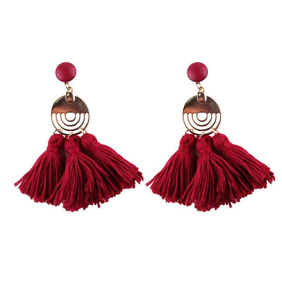 Long Tassel Bohemian Statement Dangle Drop Earrings