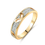 47 - Leave Hollow Shinning Cubic Zircon Pave Gold-color Ring