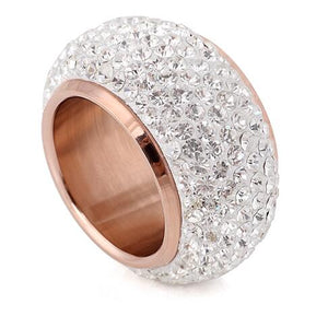 Wholesale shining full rhinestone finger rings for woman luxurious paragraph fashion new antique gold-color