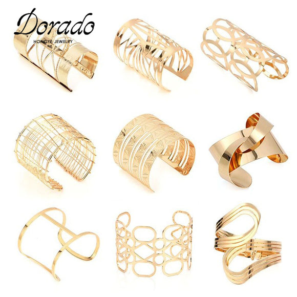 Hot Big Surface Width Woman Cuff Bangles&Bracelets Cool Gold Color Exagerated EU Style For OL Women Ladies Jewelry Bracelet