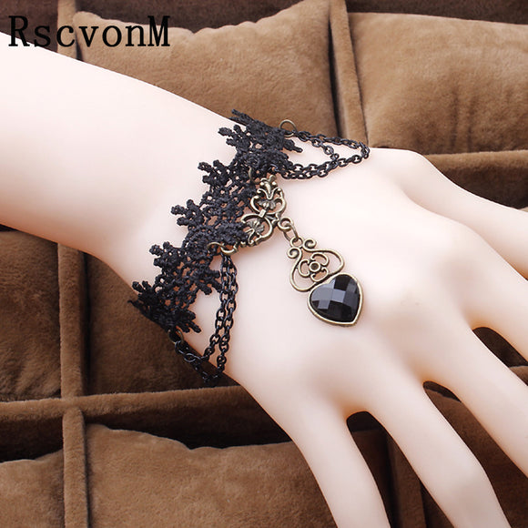 Fashion Vintage Heart Shaped Gem Lace Bracelet New Arrival Sexy Black Bracelet for Women Best Quality Christmas Gift