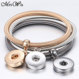 18 Designs Gold Silver Snap Bracelet For Women Men Fit DIY 18mm Snap Buttons Jewelry Elastic Snap Button Bracelet Bangles
