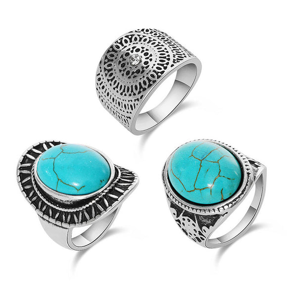 25 - Fashion Design Antique Silver Unique Carving turquoise stone 3pcs Midi finger Rings