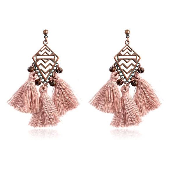 Bohemia Wave  4 Colors Tassel Beads Dangle Earrings