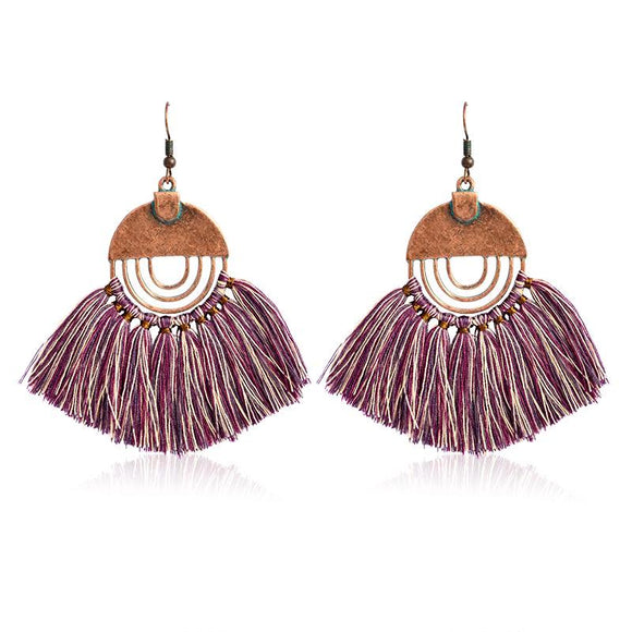 Colorful Wool Statement Dangles Earrings