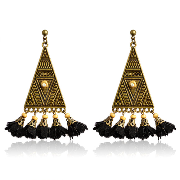 Triangle Flowers Dangle Earrings Alloy Bronze Vinatge Totem Statement Drop Earrings For Women Fashion Winter Jewelry Wholesale