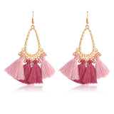 Multi-color Wool Tassel Beads Earrings