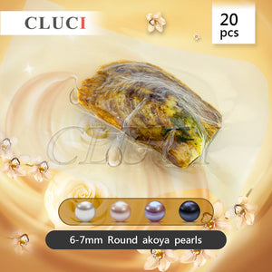 CLUCI wholesale low price SALTWATER 6-7mm Akoya round pearl in oyster vacuum-packed 20pcs, white pink lavender and black color
