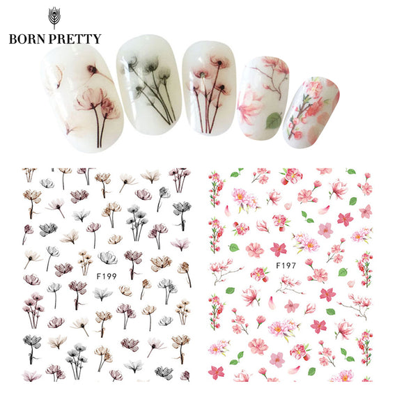 Flower Series Nail Water Decal Stickers Sakura Daisy Lavender Floral Pattern Transfer Sticker Manicure Nail Art Decoration