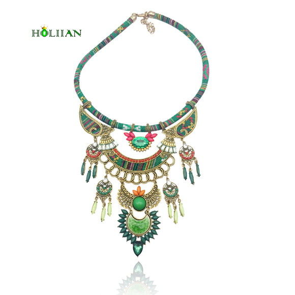 For Women fashion bohemian necklace&pendants modern hippie big Marble stone choker necklace tribal ethnic boho mujer bijoux new
