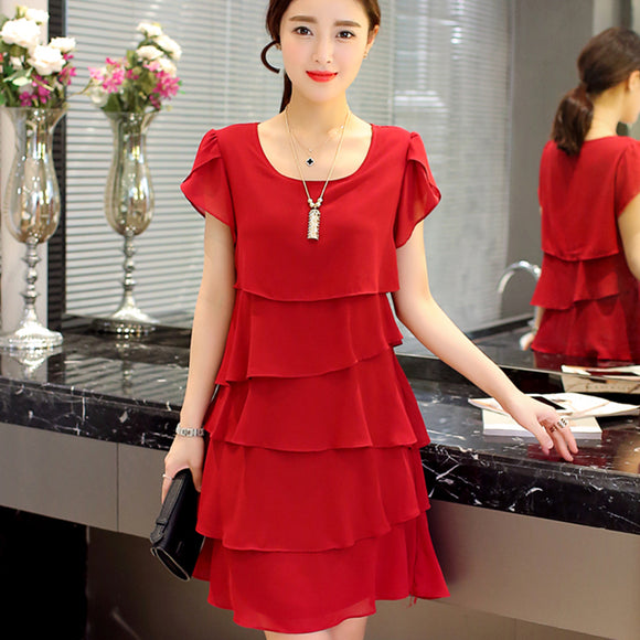 240-SHAAPRO 2017 New Women Plus Size 5XL Summer Dress Loose Chiffon Cascading Ruffle Red Dresses Causal Ladies Elegant Party Cocktail Short