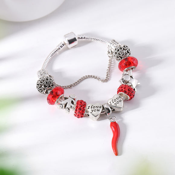 Fashion Red Chili Dangle Charm Bracelets Boy Girl With Love Beads Bracelet Fit Brand DIY Making Woman Jewelry Accessories Gift
