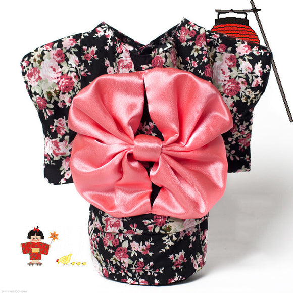 PETPETROL Kimono Floral Design Clothing with Big Bowknot Costume Dress Up Pet Supplies