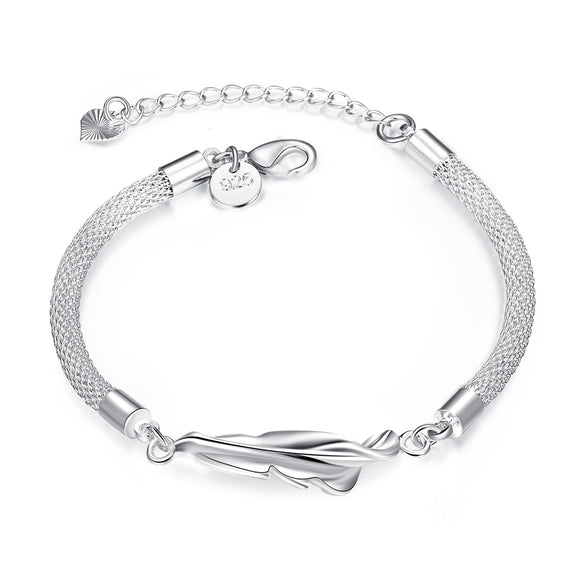JEXXI Office Lady Fine Jewelry 925 Sterling Silver Leaf With Net Chains Extender Woman Bangles Bracelets Good Quality Cheap