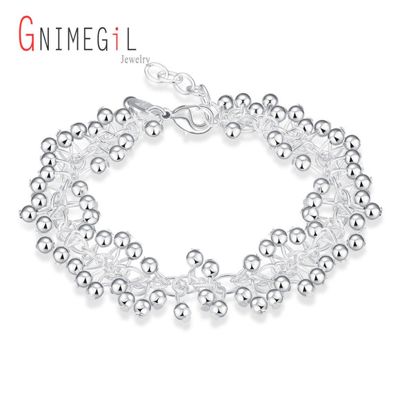 GNIMEGIL 925 Stamped Silver Color Bracelet, Silver Fashion Color Jewelry Purple Beads Balls Bracelets Fashion Party  Jewelry Gif