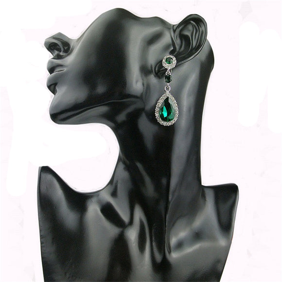 5 Color Fashion Elegant Women Lady Rhinestones Crystal Drop Dangle Pandent Ear Stud Earrings Gilr Jewelry