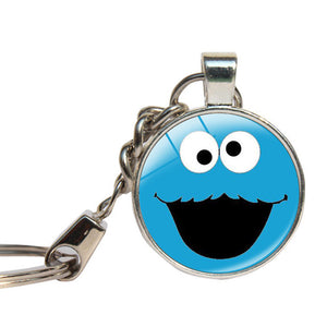 Sesame Street Cookie Monster Keychains Glass Dome Elmo Children Gift Key Rings Key Chain Glass Cabochon Key Jewelry Pandent