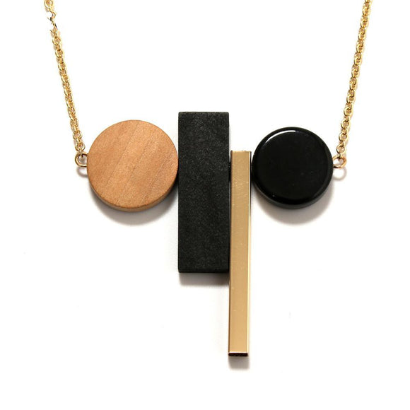 ATHENA 2018 Fashion Vintage Geometric Classic Black White Wood Necklaces Pendants For Women Minimalist Statement Jewelry