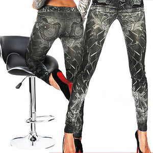 NEW Women Denim Faux  Jeans Leggings Sexy Skinny Leggings Stretch hig waist Ankle length Pants Trousers