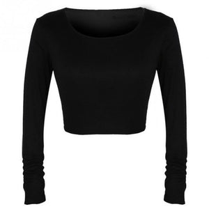 2017 Long Sleeved Round Collar Bottoming Sweet Solid Color Exposed Navel Top Belly Women Blouses Black Gray White