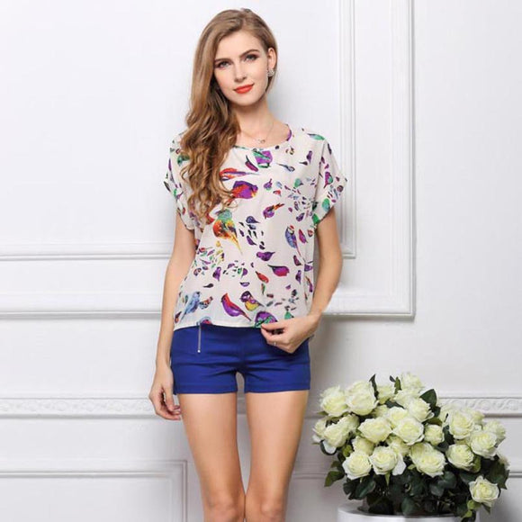 2017 Women Blouses Flower Print Tropical Chiffon Shirt with fashion O-neck women summer short sleeve blouses moda mujer #718