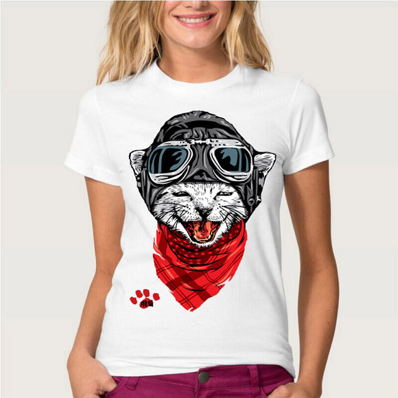 2018 summer fashion women t-shirt Happy astronaut  cat 3D T shirt funny Harajuku gangster cat design casual girls Tee cute Tops