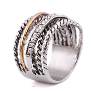 75 - Luxury women's Designer rings  gold-color pave setting  Crystal  Big Ring