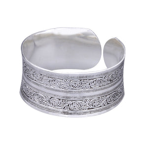 BR098 European Concave Metal Tibetan Silver Color vintage retro Bangle Cuff Bracelet Valentine's Day Gift for her Cuff