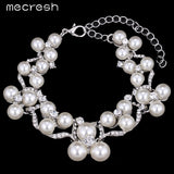 Mecresh Simulated Pearl Bridal Jewelry Sets 2017 New Wedding Jewelry Earrings Bracelets Necklace Sets for Women MTL472+MSL246