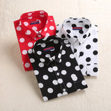 Dioufond Red Dot Shirt Women Cotton Polka Dot Blouse Black White Top Female Work Shirt Plus Size Blusas School Pocket Clothes