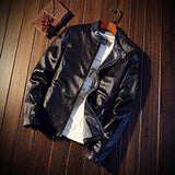ChoynSunday Brand New Leather Jacket PU Black Red Navy Man Zipper Winter Motorcycle jaqueta de couro masculino Faux Leather Coat