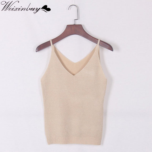 WEIXINBUY 2017 Newest Fashion Deep V-Neck Sexy Strappy Sleeveless Vest Women Tank Casual Tops T Shirt