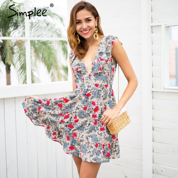 Simplee Sleeveless ruffle v neck summer dress women High waist mini dress streetwear Chic floral boho dress female vestidos 2018