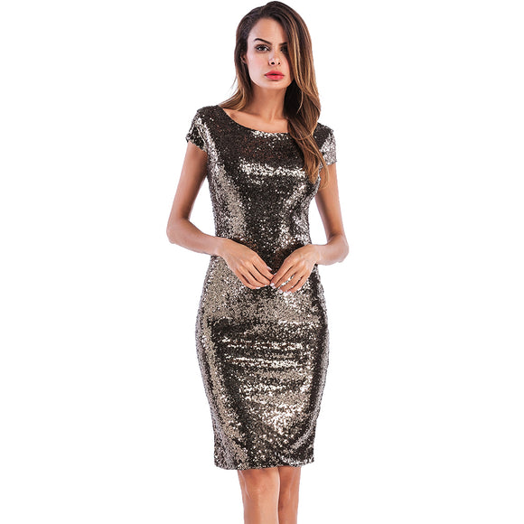Sexy Club Deep V Back Sequin Summer Woman Dress Sleeveless O-Neck Back Slit Sheath Bodycon Womens Party Dresses vestidos mujer