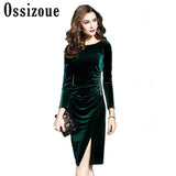 Classy Velvet Evening Dress - Slimming Party Dress