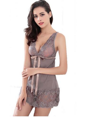 S-3XL Sexy Lace Plus Size Women Sleep Wears Sleeveless Nightgown Slim Girl Casual Nightgowns With G String 2015