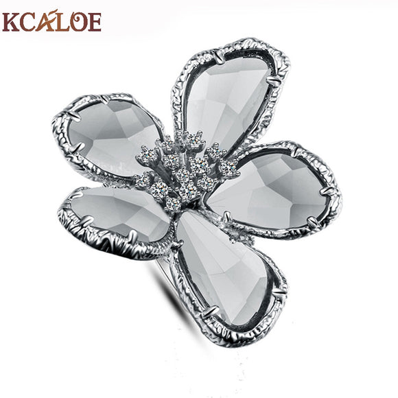 KCALOE Big Austrian Crystal Flower Wedding Rings For Women Jewelry Bague Femme Silver Color Large Engagement Ring Accessories