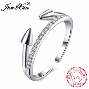 JUNXIN Fashion 925 Sterling Silver Ring Simple Design Vintage Wedding Engagement Rings For Women Love Jewelry Gifts