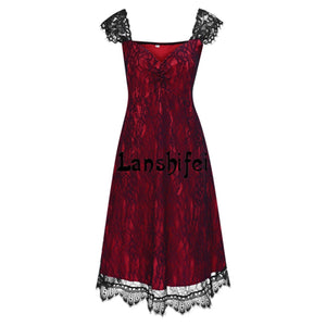 2017 New 5XL Large-Size Evening Party Elegant Lace Piecing V-Neck Gothic Dress for Women Red Black Spring Summer Party Dress