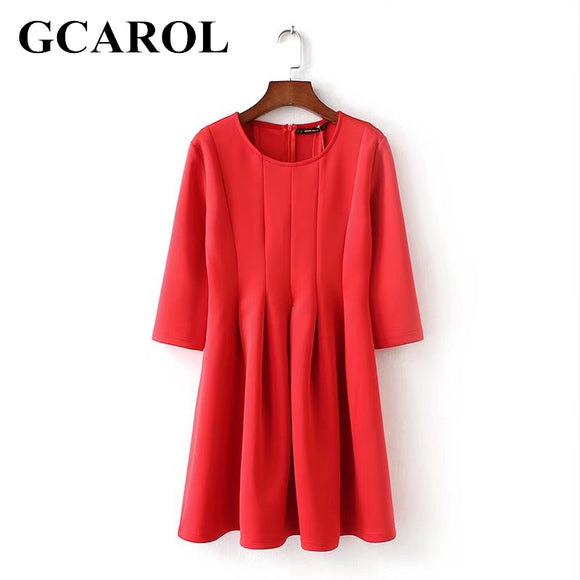 GCAROL 2018 Early Spring Women Sweet Space Cotton Dress Fold Design Half Sleeve Vintage Ball Gown Dress For Ladies