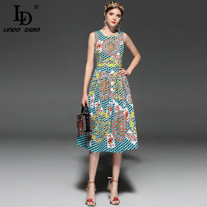 LD LINDA DELLA New 2018 Fashion Designer Runway Dress Summer Women Sleeveless Playing card Printed Vintage Retro Dress
