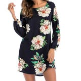 2018 Spring Summer Dress Long Sleeved Women Dress Vestidos Round Collar Sexy Backless Bow Print Dress Femme Boho Plus Size GV337