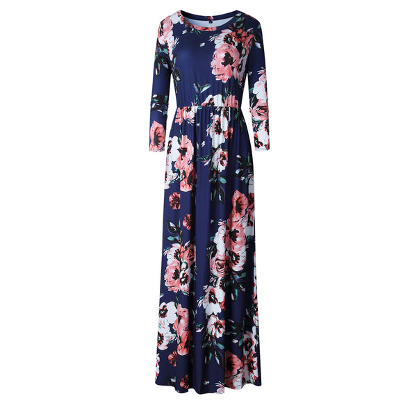 BOHO Beach Dress Casual O Neck Floral Print Dresses Women Bohemian Long Maxi Dress Plus Size S-XXXL 2018 Fashion Pleated Robe