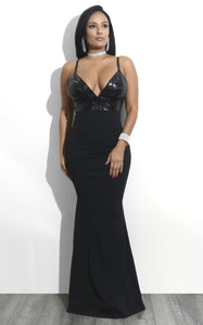 Women Long Party Dress Female Black Sleeveless Backless Deep V-Neck Floor-Length Slim Bodycon Elegant Sexy Sequin Dress
