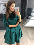 VITIANA Women Velvet Casual Dress Female Green Black Autumn Spring Half Sleeve Elegant A-Line Short Mini Party Dresses Vestido